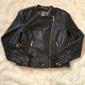 Vince Camuto Faux Leather Perforated Moto Jacket